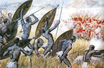 Zulus attacking during the Boer War